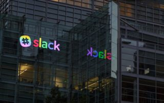 Slack Sign @ 500 Howard - Rainbow